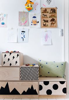 Lovely kids room with smart storage solutions for toys. We love the cool patterns on the drawers.