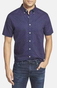 Grayers 'Jepson' Trim Fit Dot Print Poplin Sport Shirt available at #Nordstrom