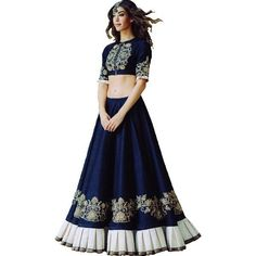 Designer Blue Banglory Silk Lehenga-Choli With Banglory Silk Blouse Fabric