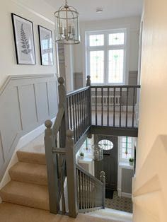 Entrance Hall Decor, Hallway Ideas Entrance Narrow, Modern Hallway, Country Hallway, Narrow Hallway Decorating, Entrance Halls, Entry Stairs, Stair Paneling, Wall Panelling