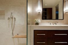 Contemporary bathroom with sleek cabinets and fixtures.
