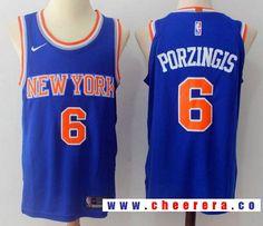 1b0fa94c2d6 Men s New York Knicks  6 Kristaps Porzingis Blue 2017-2018 Nike Swingman  Rakuten Stitched