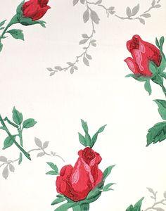 vintage wallpaper, floral red rosebuds