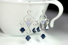 Navy Blue Swarovski Crystal Chandelier Earrings Wire Wrapped Jewelry Handmade Sterling Silver Jewelry Handmade Dark Blue Chandelier Earrings