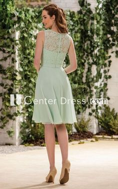 Sleeveless A-Line Knee-Length Bridesmaid Dress With Lace Detail And Ruffles - UCenter Dress