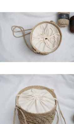슬로우모먼츠 ::: 코바늘 데일리 복조리백 : 네이버 블로그 Crochet Clutch, Crochet Handbags, Crochet Purses, Crochet Hook Case, Diy Crochet And Knitting, Diy Straw, Straw Bag, Crochet Beach Bags, Knitted Bags