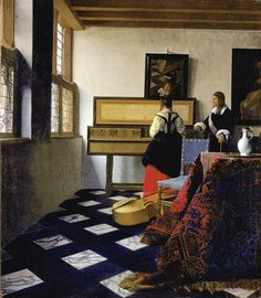 the #music #lesson by johannes #vermeer , 1662-1665, high-resolution fine #art #poster #prints . #reproductions #print #posters #highresolution #fineart #oldmaster #painting #oilpainting #oldmasters #dutch #holland #delft #musician #teacher #virginal #piano #pianoplayer #tutor #interior #windows #light #tablecloth #pitcher #viola #cello #tile #tiled #tiledfloor #mirror #reflection #gentleman #lady #woman #Vermeer #realism #parquet #red #vermillion #reflections