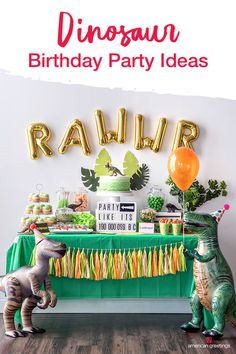 Creating a prehistoric birthday party is surprisingly simple, even if you& not the & type. Our dinosaur birthday party ideas, tips and tutorials, will have you putting together a Jurassic themed birthday bash that is sure to be a roaring good time. Dinasour Birthday, Dinosaur Birthday Party, 1st Boy Birthday, Simple 1st Birthday Party Boy, 1st Birthday Ideas For Boys, Toddler Birthday Themes, 3 Year Old Birthday Party Boy, Birthday Party Tables, 4th Birthday Parties