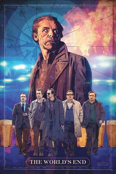 Studio will give away copies of the poster created by illustrator Tommy Lee Edwards exclusively at Comic-Con to promote the new Simon Pegg sci-fi comedy. Simon Pegg, End Of The World, The World's End Movie, Movie Tv, Tommy Lee, Dragon 2, Upcoming Films, New Poster, How To Train Your Dragon