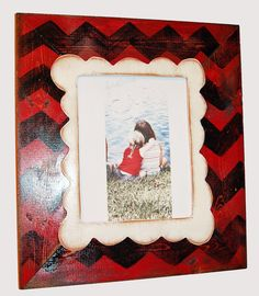 8x10 Wood picture frame Painted in Chevron and by kygracedesigns, $42.00