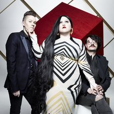 """American indie rock band Gossip comprised of three """"outspoken queers"""": vocalist Beth Ditto, guitarist Nathan Howdeshell and drummer Hannah Blilie"""