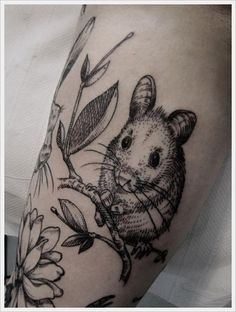 cute etching style mouse tattoo