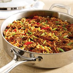 Asian Pork & Noodle Skillet  This recipe is great with leftover veggies and any meat! We have used chicken, kielbasa, pork and steak!  www.pamperedchef.biz/jennifersoto