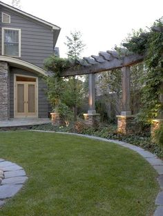 Privacy for the backyard. Add a pergola along the back fence. Privacy for the backyard. Add a pergola along the back fence. Contemporary Landscape, Landscape Design, Landscape Elements, Traditional Landscape, Landscape Architecture, Outdoor Spaces, Outdoor Living, Outdoor Photos, Lawn And Garden