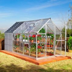 Greenhouse with shed gives you all sorts of options for growing and storing.