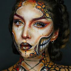 Monarch Butterfly makeup design that would be hugely complicated but very effective if done correctly.