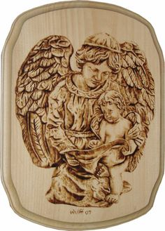pyrography | Angels – Pyrography on pine. 12 x 9″