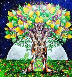 Minha árvore encantada e seu luar surreal.  Quem não acompanhou o passo a passo pelo  Snap, poderá ver daqui a pouco pelo meu canal no YouTube.   #arvore #folhas #luar #noite #surreal #frutinhas #florestaencantada #livrodecolorir #johannabasford #meucolorido #antiestresse  #amopintar #20likes #follow4follow #like4like #instalike #coloringbookbr #editorasextante #instadaily #followme  #instagood #colorfull #follow #webstagram #florestaencantadadkpm  #instalove #instaDKPM #instapopula...