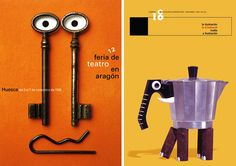 Cartel de Isidro Ferrer (Premio Nacional D.Gráfico 2011) para la Feria de Teatro de Aragón, 1998 (izq.) Portada de la Revista de la Asociación de Ilustradores Profesionales La Ilustración, 1998 (dcha.)