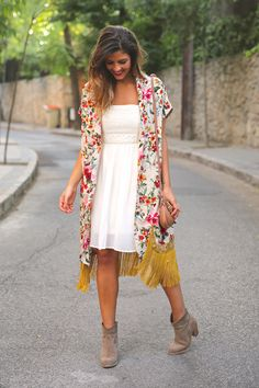 Love this floral kimono over a simple white sundress.