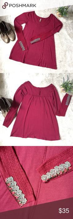 ✨Free People✨ Burgundy Wool Sweater w/ Embroidery This free People sweater is in great condition! Has embroidery and button on the ends of both sleeves. Super soft and perfect for fall/winter! Size large. Wool, acrylic, raton blend. Free People Sweaters