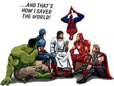 Hero and Jesus. Jesus is hero for human christian , Christian Humor, Christian Life, Christian Quotes, Christian Comics, Jesus Art, God Jesus, Jesus Christ, Jesus Cartoon, My Superhero