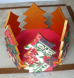 Porta panetone mdf revestido com tecido e pintado com acabamento interno em e.v.a. WWW.NIKIATELIER.ELO7.COM.BR