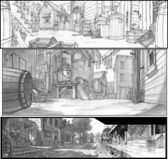 Cenários de clássicos, por Robert J. St. Pierre | THECAB - The Concept Art Blog
