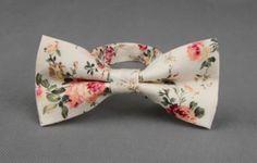 Men's Floral Pre-Tied Bow tie Small to Medium Necks by MYTIESHOP
