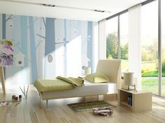 Birdforest - Blue - Wall Mural & Photo Wallpaper - Photowall