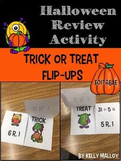 Halloween Review Game I created these Trick or Treat Flip-Ups as a fun way to review division with my students during the Halloween season. My students had so much fun with them that I decided to make an editable version for you to review ANY concept with your Halloween Math, Halloween Season, Halloween Activities, Math Test, 5th Grade Math, Third Grade, Multiplication Facts, Math Facts, Math Resources