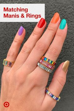 Nail your summer mani with bright nail polish inspiration & rainbow-colored rings to match!