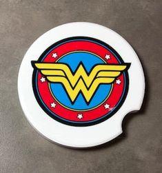 Cute Car Accessories, Women Accessories, Ww Car, Custom Coasters, Cute Cars, Coaster Set, Coaster Holder, Wonder Woman, Gift