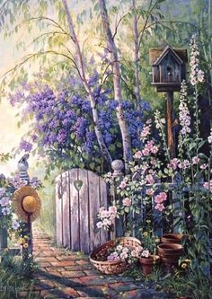 Discussion on LiveInternet – Russian Service On… American artist Sandra Bergeron. Discussion on LiveInternet – Russian Service Online diary Art Floral, Garden Gates, Garden Art, Beautiful Paintings, Beautiful Landscapes, Belle Image Nature, Watercolor Paintings, Original Paintings, Garden Painting