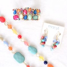 Multicolored Jewelry Bundle This jewelry bundle comes with a necklace, a bracelet, and a pair of earrings. They are not a matching set, but I used to wear them together.  You can double the necklace (shown in 4th photo). Excellent condition! Macy's Jewelry