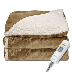 Reversible Heated Throw Blanket Sherpa/Mink Polyester Ultra Soft Fabric Honey #Sunbeam #Contemporary