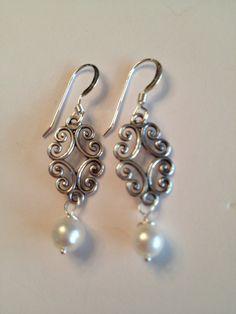 Sterling & Pearl Earrings by SharonKrug on Etsy, $25.00