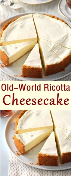Old-World Ricotta Cheesecake - Kuchen - Best Cake Recipes Dessert Oreo, Bon Dessert, Just Desserts, Delicious Desserts, Yummy Food, Easy Cheesecake Recipes, Dessert Recipes, Ricotta Cheese Cake Recipes, Italian Ricotta Cheesecake