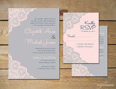 Rustic Lace Wedding Invitation Set // DIY Printable Invitation by MyCrayons // Grey and Pink Wedding, Modern Rustic Wedding