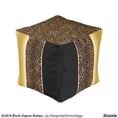#Gold & #Black #Jaguar Animal Print #pouf #zazzlebesties #shopping #gifts