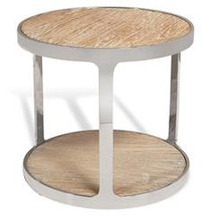 Zanuso Industrial Reclaimed Elm Stainless Steel Round Side Table | Kathy Kuo Home