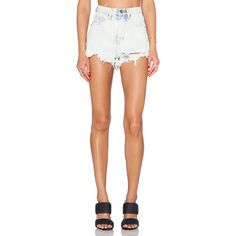 UNIF Taryn High Rise Short Denim (370 BRL) ❤ liked on Polyvore featuring shorts, jean shorts, destroyed jean shorts, high rise denim shorts, high-waisted denim shorts and distressed jean shorts