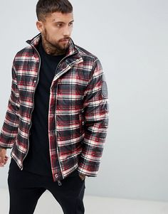 Shop the latest boohooMAN puffer jacket in red check trends with ASOS! Latest Fashion Clothes, Fashion Online, Fashion Moda, Mens Fashion, Asos Online Shopping, Windbreaker Jacket, Puffer Jackets, Sweater Jacket, Men Casual