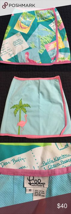 Lilly Pulitzer Girls Postcard Skirt 10 Very good preowned condition. Very minor but normal wash wear, no holes or stains. Girls size 10. Lilly Pulitzer Bottoms Skirts