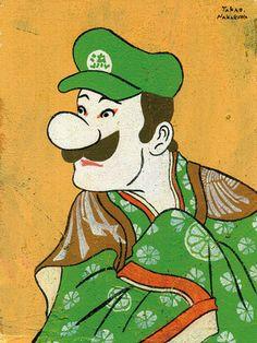 Pop culture heroes drawn as ukiyo-e characters