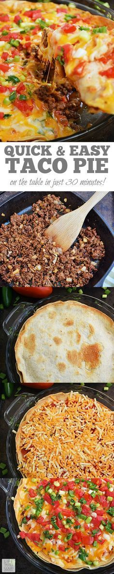 Taco Pie by Life Tastes Good is an easy and economical recipe perfect for even the busiest nights of the week! Refried beans and seasoned ground beef sandwiched between 2 large flour tortillas is topped with shredded cheese and fresh vegetables to creat Taco Pie Recipes, Mexican Food Recipes, Cooking Recipes, Tostada Recipes, Kabob Recipes, Fondue Recipes, Healthy Recipes, Cheese Recipes, Dinner Recipes