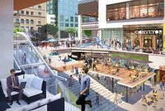 New Renderings for the Bloc Shopping Center Plaza Design, Mall Design, Stairs Architecture, Modern Architecture, Public Space Design, Public Spaces, Design Thinking Process, Commercial Street, Commercial Interior Design