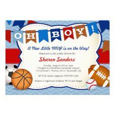 All Star Allstar Sports Baby Shower Boy Birthday Ticket Invitations   Little MVP* Sports Themed Baby Shower Invitation