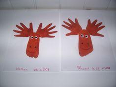 Les rennes du père Noël, avec les empreintes de mains, et de pieds des enfants.