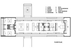 Love the straight floorplan.  Could esily be adapted for a shipping container house! Plan of North Beach House on Orcas Island by Heliotrope Architects, Remodelista